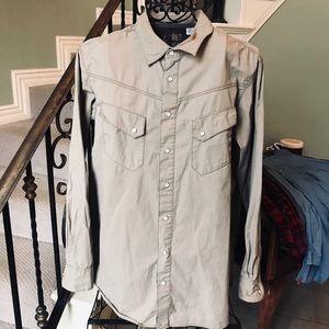 Men's Long Sleeve Snap Up Casual Shirt XL